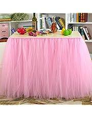 AllRight 100cm X 80cm TuTu Table Skirt Tulle Tablecloth for Wedding, Birthday, Baby Shower Decoration