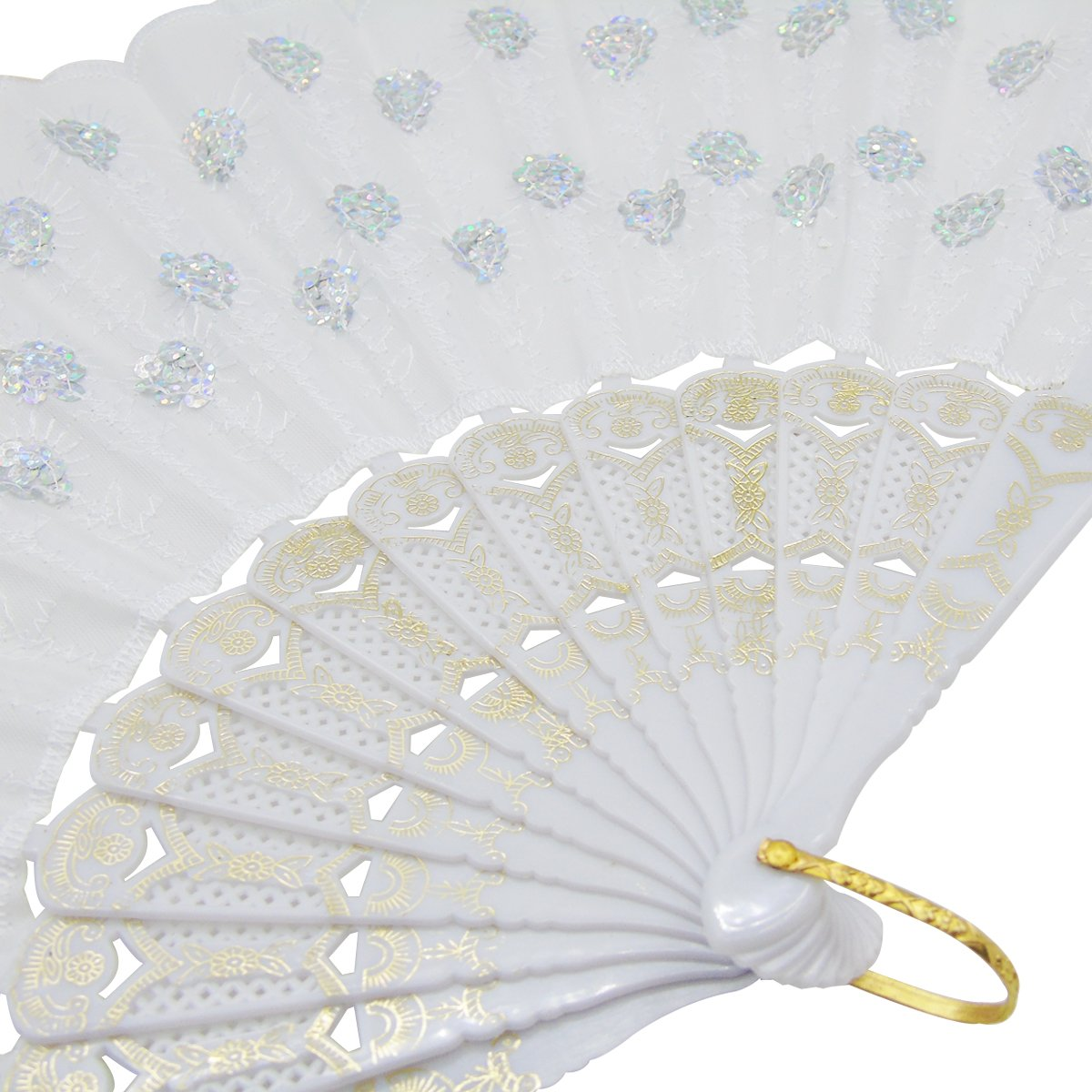 Amazon.com: 6 Packs White Spanish Floral Folding Hand Fan Women Lace ...