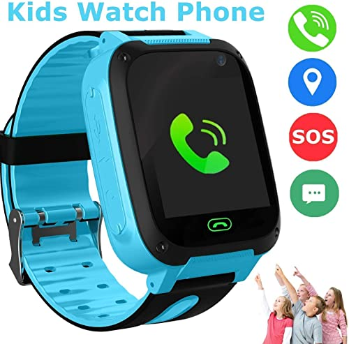 SZBXD Kids Smart Watch, LBS GPS Tracker SOS Camera Voice Chat Touch Screen Games Alarm Clock Flashlight Phone Watch for Boys Girls Great Birthday Gift Blue