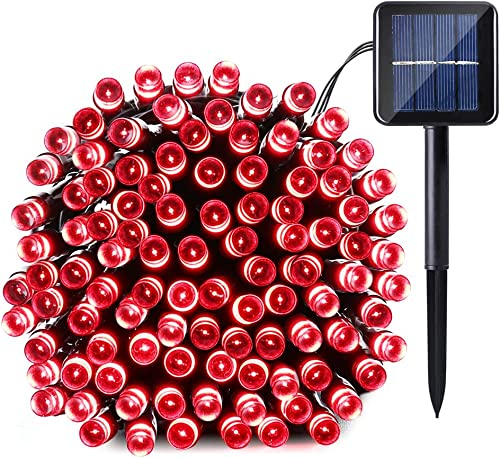 Qedertek Solar String Light, 39ft 100 LED 8 Modes Light Sensor Control Waterproof Decorative Ambiance Light for Patio, Lawn, Garden, Fence, Balcony, Party, Holiday, Christmas Decorations Red