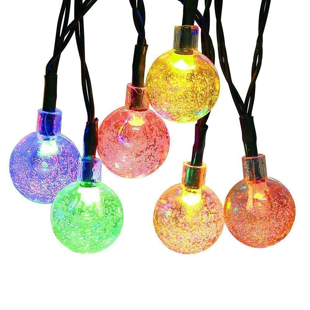 Topop Guirnaldas Luces Colores LED Solares Impermeable 30LED 6.35Mt 4 Colores 8 Modo