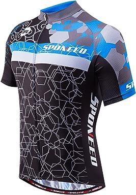 530acc0a9 sponeed Men s Cycling Jerseys Tops Biking Shirts Short Sleeve Bike Clothing  Full Zipper Bicycle Jacket Pockets