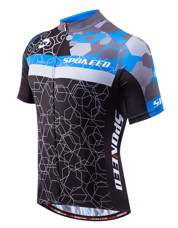 Sponeed Men's Biker Jersey with Back Pocket