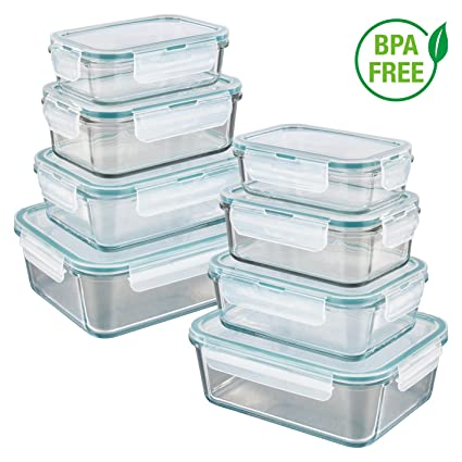 GOURMETmaxx 02847 Glas-Frischhaltedosen | 8er Set klick-It Dosen mit Deckel | Silikon Dichtungsring | Glasbehälter mit Deckel