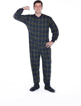 Pijama de franela de algodón a cuadros azul marino y verde ...