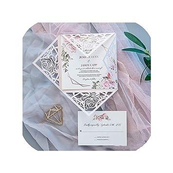 Amazon Com 50pcs Square 24 Colors Rose Design Invitations