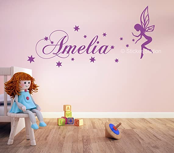 Fairy U0026 Stars Girls Personalised Any Name Wall Art Mural Decal Sticker