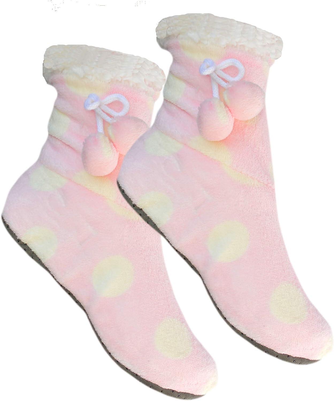 Premium Socks 1 Paar Damen Kuschel-Hausschuhe mit ABS und Bommel Damenhausschuh weichem Teddyfutter Innenfell Homesocks textile Sohle mit Silkon ABS Dots