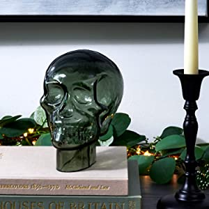 Glass Skull Decor for Home - Halloween Decoration, 7 Inch Statue, Translucent Gray, Durable Heavy Glass, Realistic Replica Human Skeleton Head - For Gothic Home Decor or Creepy Shelf and Table Display