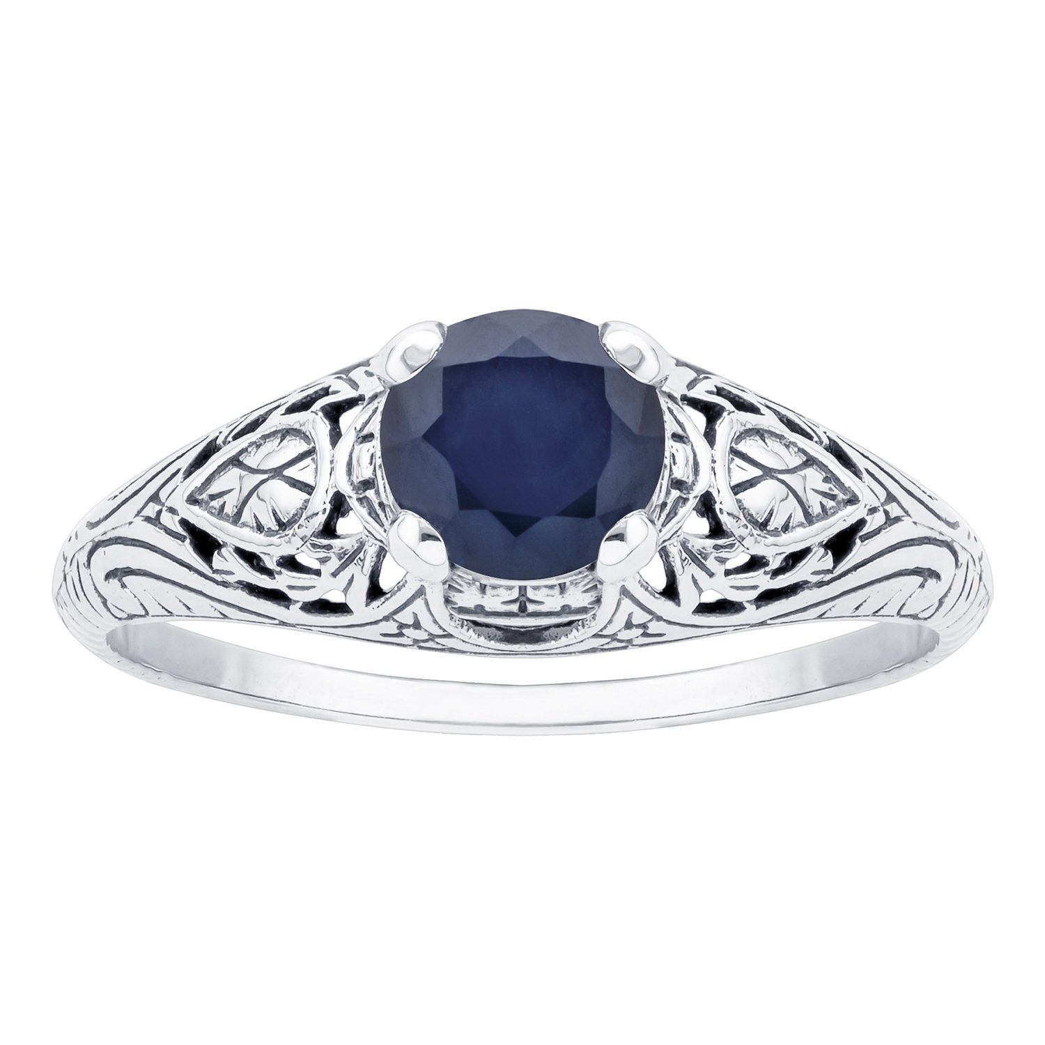 10k White Gold Vintage Style Genuine Round Sapphire Scroll Ring by Instagems