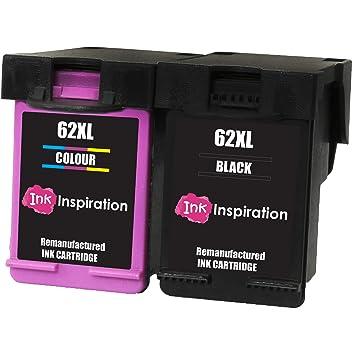 INK INSPIRATION® 2 Cartuchos de Tinta Remanufacturados para HP 62 ...