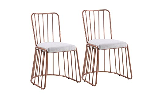 Dining Chairs Set of 2, Fabric Side Chair for Living Room 2 Pieces Grey Rose Gold