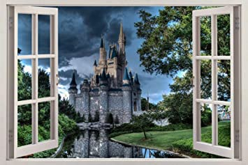 Amazoncom Disney Castle At Dusk 3D Window View Decal WALL STICKER