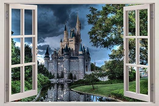 Amazon.com: Disney Castle At Dusk 3D Window View Decal WALL STICKER Decor  Art Mural H64, Huge: Home U0026 Kitchen Part 32