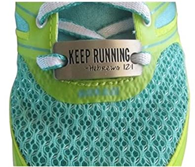 be93d6eecf8c RunningOnTheWall - Shoe lace Charm - Shoe tag for Sneaker - Running Shoe  Bling - Keep Running - Hebrews 12:1 Silver