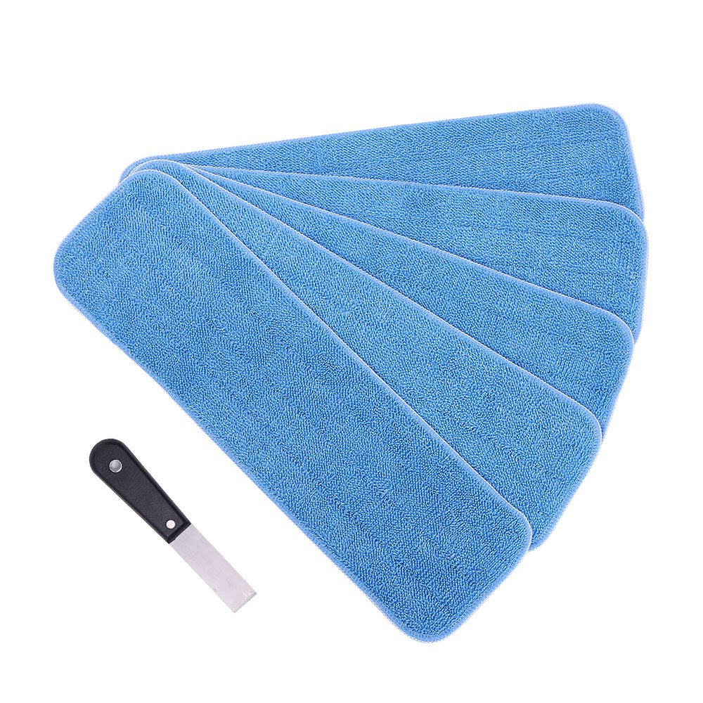 Yi PF G star Microfiber Mop Pads Heads Replacement - 18'' Fit All Washable & Reusable Commercial Mop Head for Wet/Dry wirh Extra Scraper (Blue- 5 Pack)