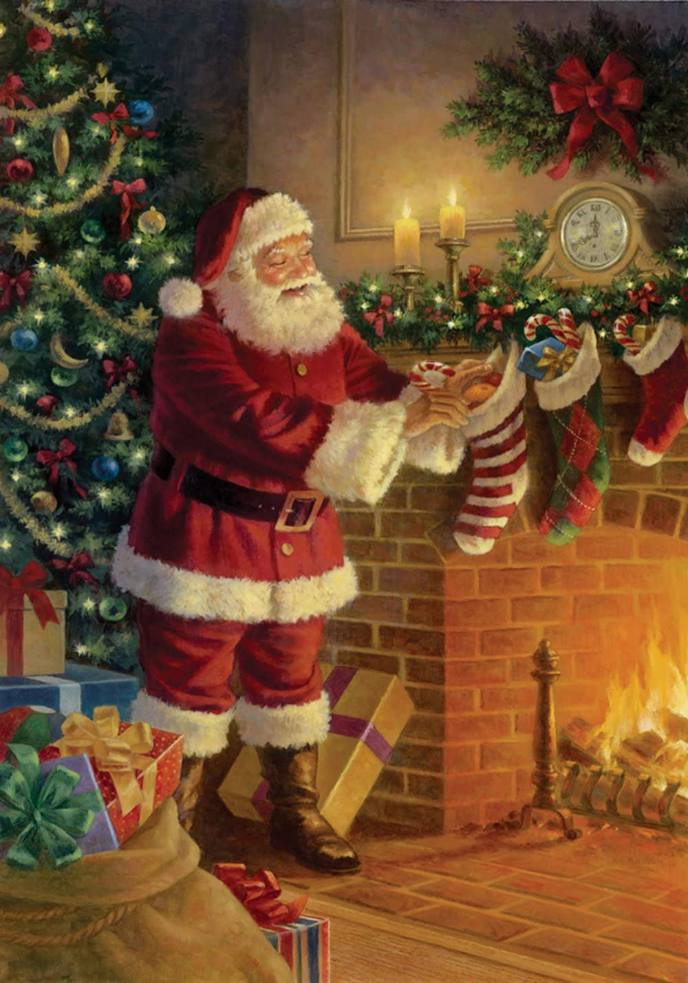 Toland Home Garden Stocking Stuffer 28 x 40 Inch Decorative Christmas Tree Holiday Fireplace Gift Santa Claus House Flag - 109418
