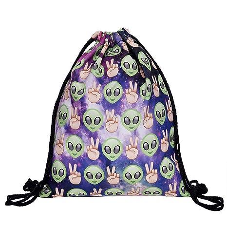 af1c147e6e Hellathund Fashion colorato cute happy 3d stampato coulisse zaino (38,1 x  27,9 cm), aliens purple (multicolore)