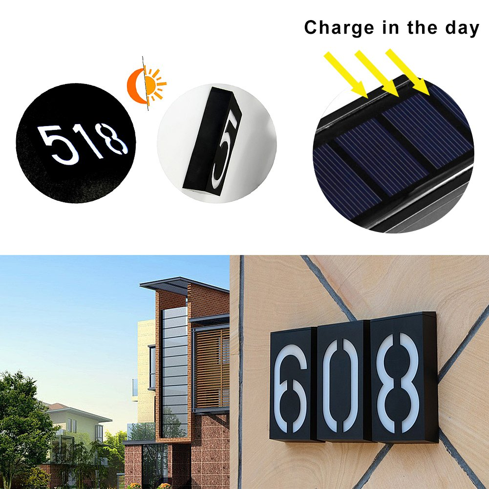 Solar Digital Doorplate Lamp Manual and Light Control Solar Wall Light LED House Number Apartment Villa Garden Light by Gorge-buy (Image #4)