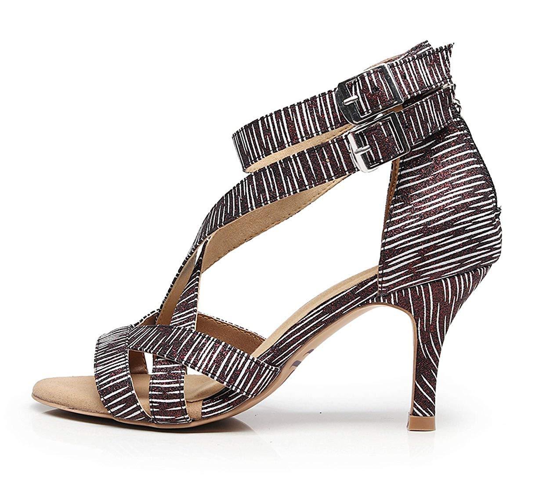 Qiusa Damen weiche Gummisohle Knöchelriemen schwarz weiß Latin Salsa tanzen tanzen tanzen Schuhe Hochzeit Schuhe UK 7.5 (Farbe   -, Größe   -) B07M6PP5NX Tanzschuhe Wartungsfähigkeit bd6150