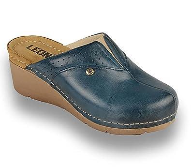 informazioni per 892f8 0e8da LEON 1002 Zoccoli Sabot Pantofole Scarpe Pelle Donna