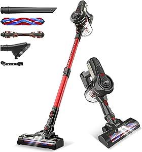 INSE Cordless Vacuum Powerful Suction Stick Vacuum Cleaner 6 in 1 Handheld Vaccum for Home Hardwood Floor Carpet car pet Hair-Red, Ultra Lightweight