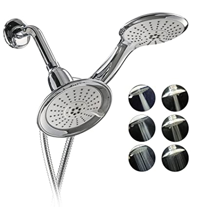 CO-Z 3-Way Chrome Dual Shower Head, 2 in 1 Shower Head Combo with 48 ...