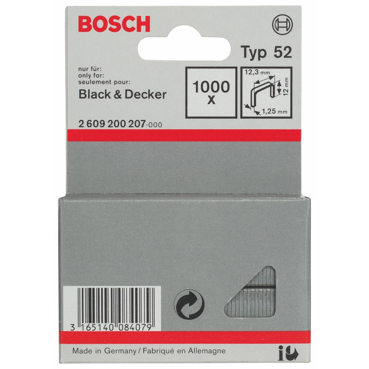 pack de 1000 Grapa de alambre plano tipo 52-12,3 x 1,25 x 12 mm Bosch 2 609 200 207