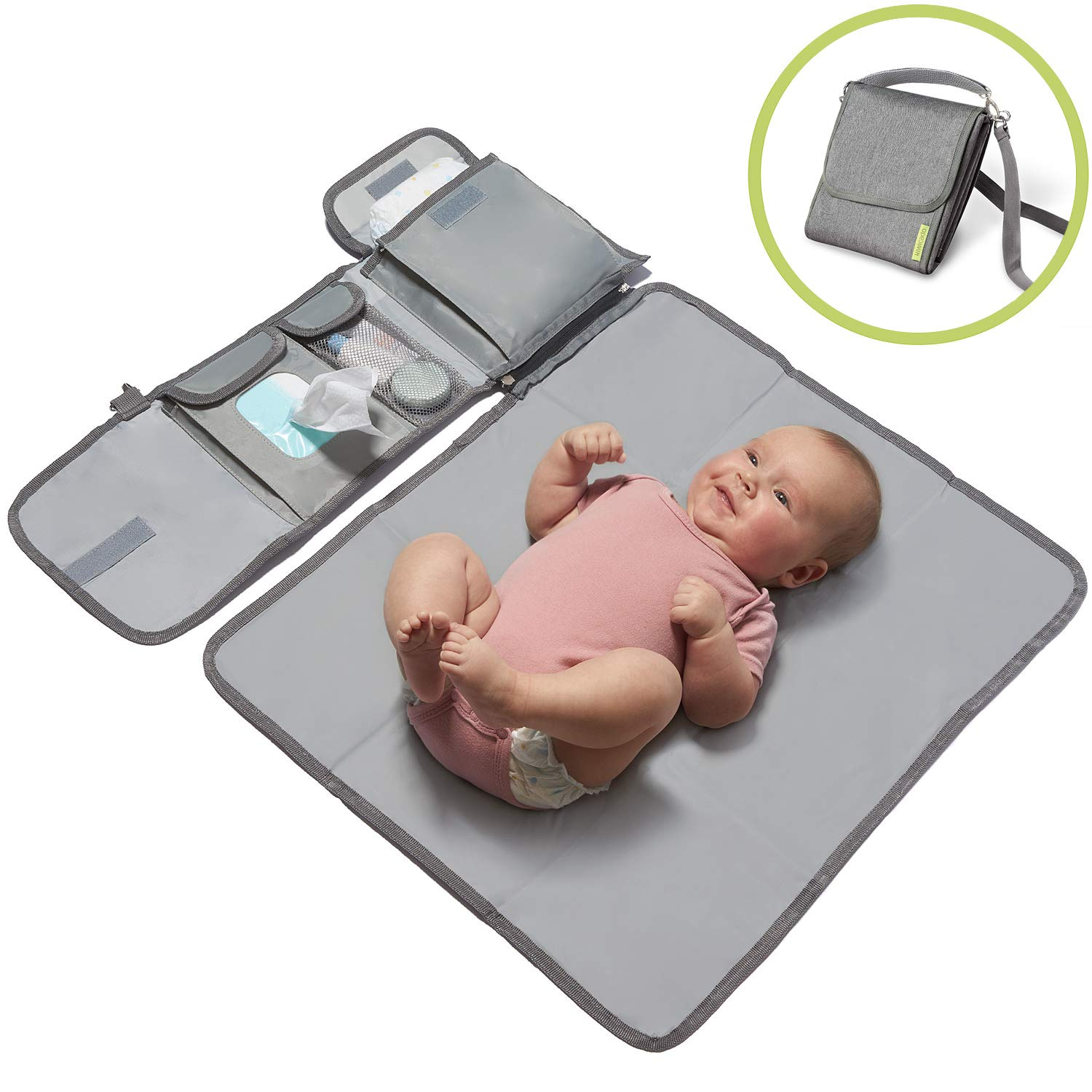 Kiwicado Small with Removable Travel Baby Changing Mat Baby Nappy Changing Bag Travelling Waterproof Changing Table Compact Wrap Set