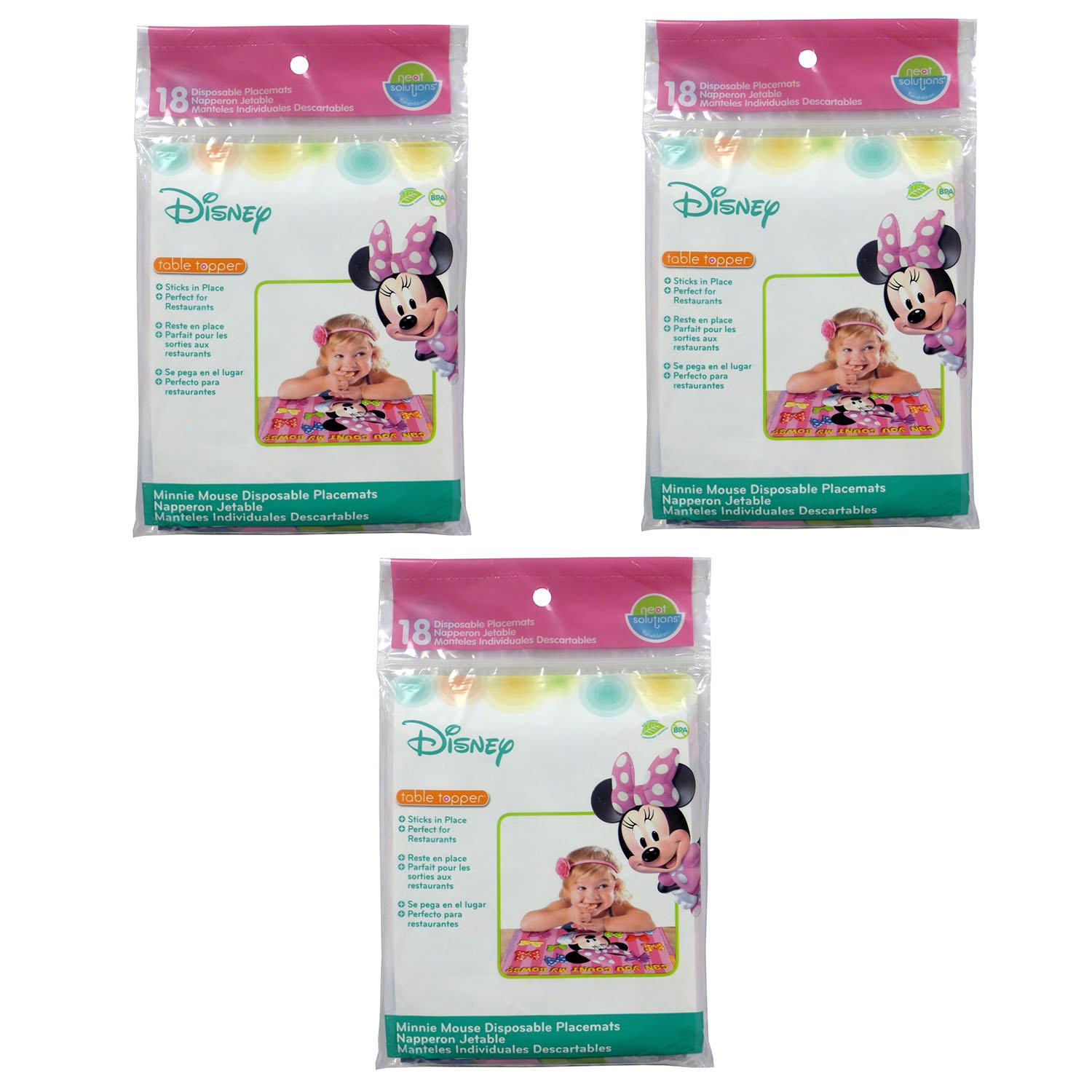 Neat Solutions Disney Minnie Mouse Table Topper Disposable Stick-on Placemats - 54 Count