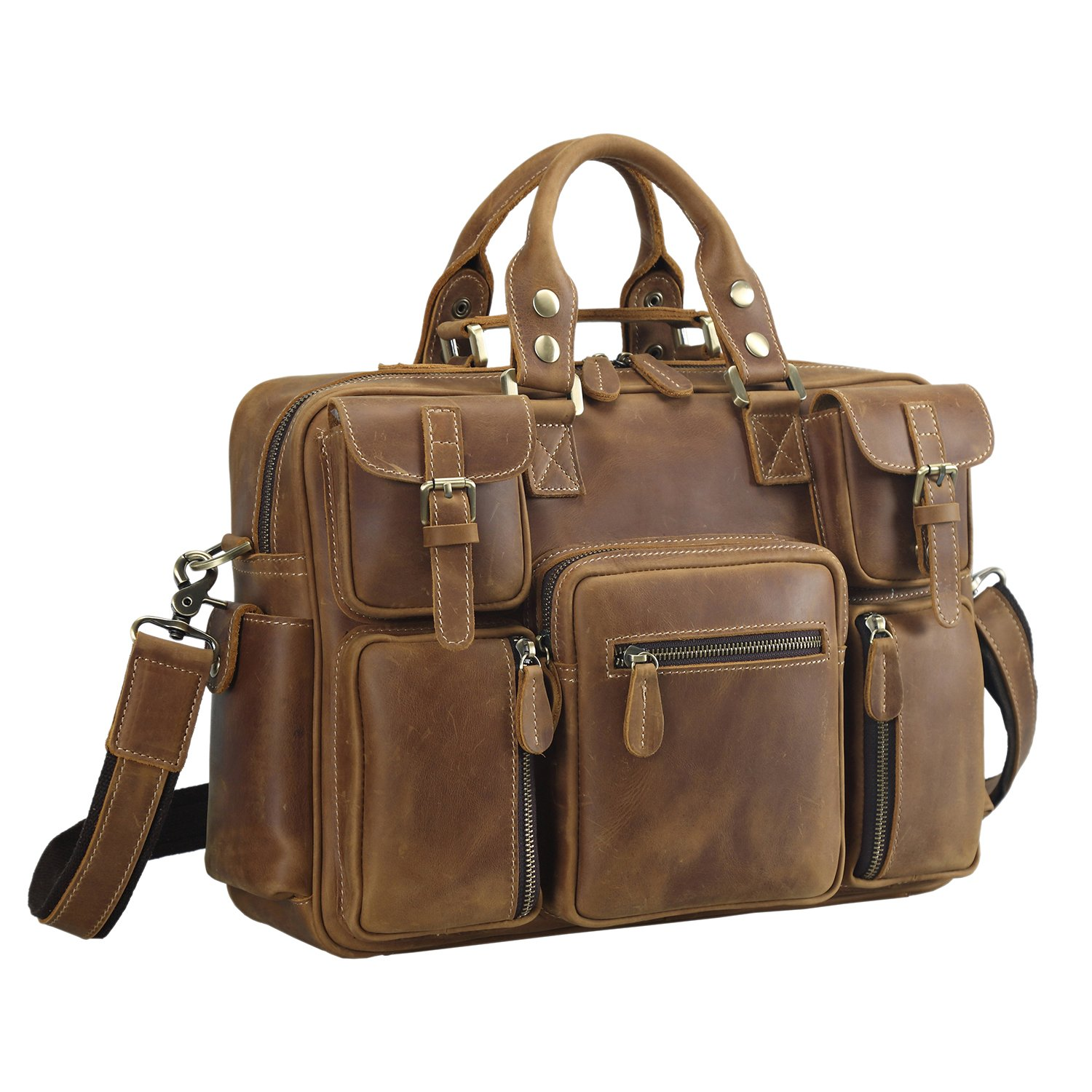 Polare Men's Vintage Full Grain Leather Messenger Bag Business Case Computer Briefcase