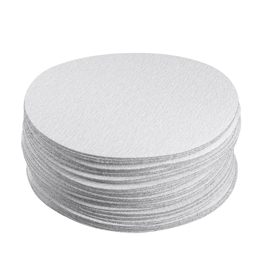 uxcell 50 Pcs 6-Inch Aluminum Oxide White Dry Hook and Loop Sanding Discs Flocking Sandpaper 180 Grit