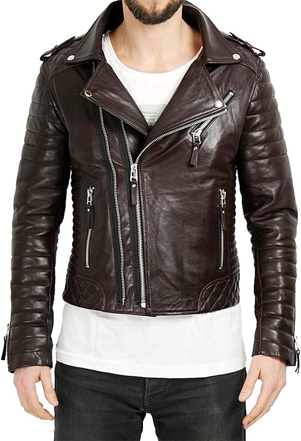 Kingdom Leather New Men Quilted Leather Jacket Soft Lambskin Biker Bomber X623