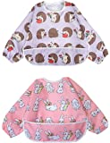 Long Sleeved Bib Waterproof Bibs for Babies and Toddlers with Pocket (6-24 Months) - Pack of 2 by Little Dimsum (Little Rabbit/Little Hedgehog)