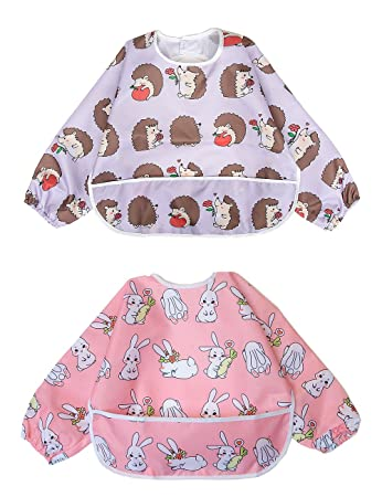 Long Sleeved Bib Waterproof Bibs for Babies and Toddlers with Pocket (6-24  Months 577df778cb7c