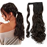 """17"""" Synthetic Curly Ponytail Clip In Hair Extensions Wavy One Piece Wrap Around Hairpiece Long For Women - Dark Brown(43CM-90G)"""