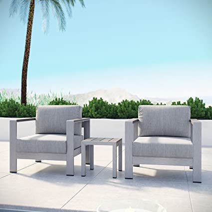 Silver Patio Furniture.Modway Shore 3 Piece Aluminum Outdoor Patio Furniture Set In Silver Gray