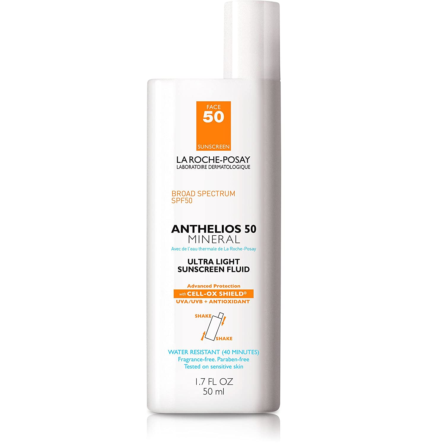 La Roche-Posay Anthelios Mineral Ultra-Light Fluid Broad Spectrum SPF 50, Face Sunscreen with Zinc Oxide and Titanium Dioxide, Oil-Free , 1.7 Fl. Oz: Premium Beauty