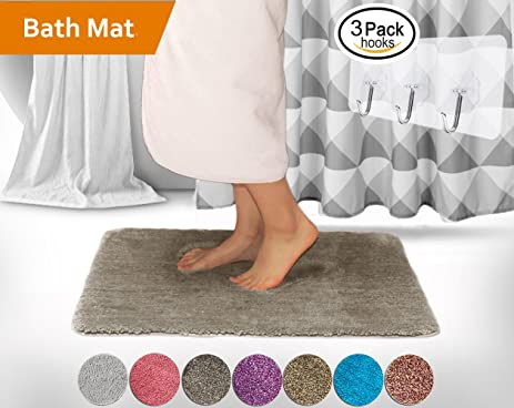 white non mat rug large amazon slip rubber kmat dp luxury bath shaggy inch bathroom soft washable microfiber rugs com