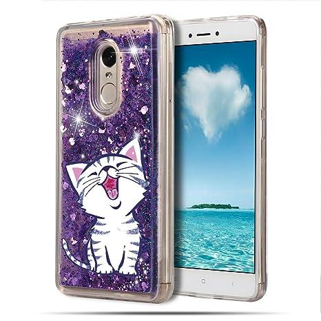 Mosoris Funda Xiaomi Redmi Note 4 / 4X, Transparente Carcasa Purpurina Gato 3D Bling Glitter Líquido Brillar Case Silicona Cubierta Anti Arañazos Tapa ...