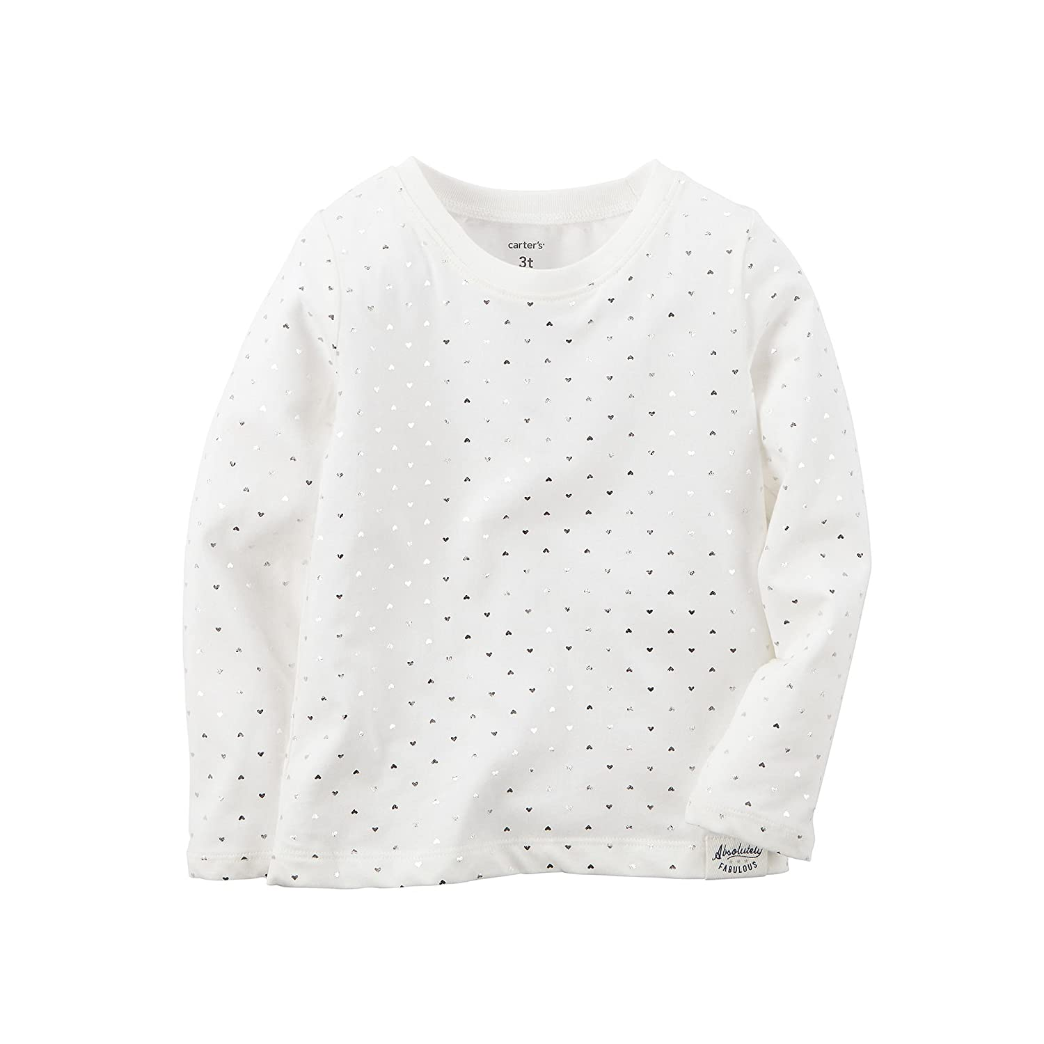 Carters Baby Girls L//S Foil Print Tee Top /… 6m, White