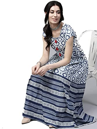 7c8e409b24 Women Blue & White Printed Cotton Indian Ethnic Anarkali Kurta Long Dress  ...