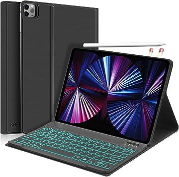 Funda con teclado para iPad Pro 11 2020/2018, Boriyuan Folio Smart Cover compatible con Apple Pencil, teclado retroiluminado Bluetooth desmontable ...