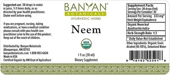Banyan Botanicals Neem Liquid Extract – Certified Organic, 1 oz