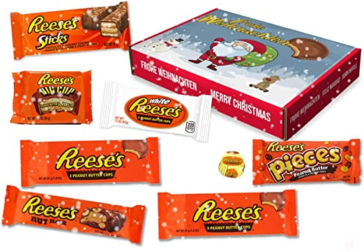 Reeses -Xmas Sweet Box - Cesta de regalo | 8 dulces estadounidenses diferentes | Tazas de mantequilla