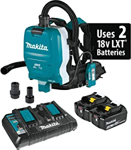 Makita XCV10PTX 18V X2 LXT Lithium-Ion (36V) Brushless Cordless 1/2 Gallon HEPA Filter Backpack Dry Dust Extractor Kit, AWS Capable (5.0Ah)