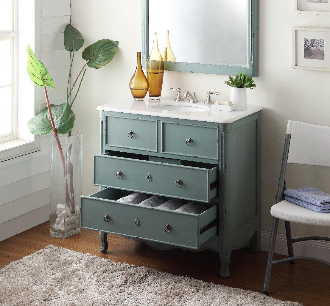 Daleville 34 inch vanity hf081wp distressed cream - 34 Cottage Look Daleville Bathroom Sink Vanity Model Hf 081y W Matching Mirror Vintage Mint Blue Barstools With Backs Amazon Com