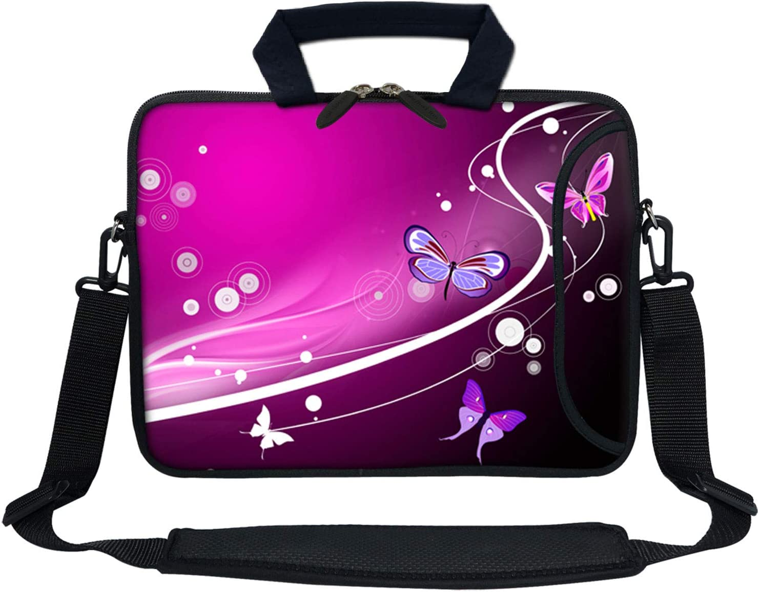 Meffort Inc 13 Inch Neoprene Laptop Bag with Extra Side Pocket Fits for 12.5 to 13.3 Inch Size Computer - Pink Purple Butterfly