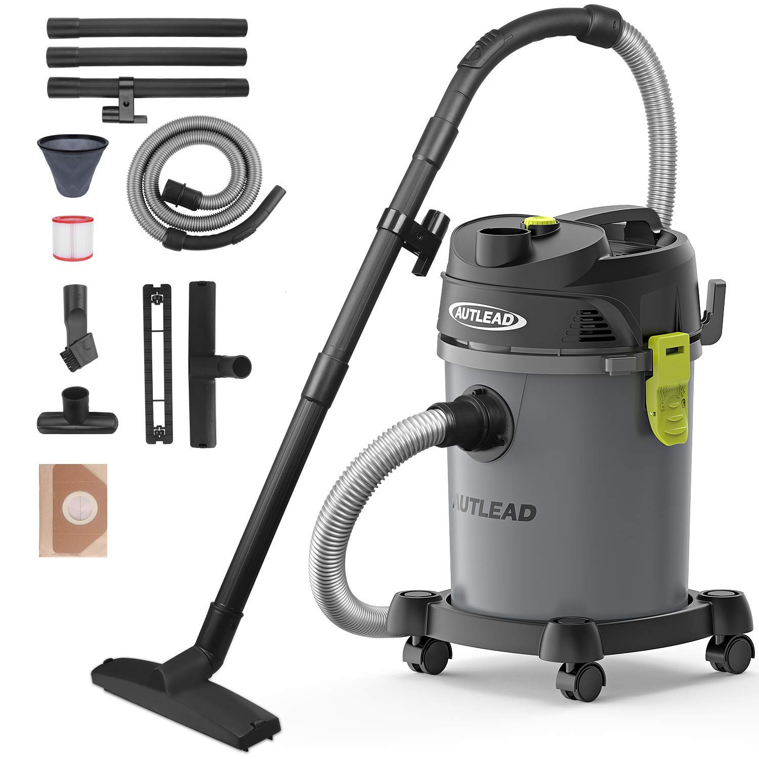AUTLEAD Vacuum WDS02A 5 Gallon Pure Copper Motor 5.5 HP Wet/Dry/Blow 3 in 1 Shop Vac, Stable Round Bucket Design with Pulley System, HEPA Disposable Bag, 3 Brush Included, 5.5 Gallon, Black by AUTLEAD