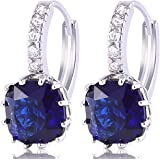 GULICX Fashion White Gold Electroplated Sapphire Color Blue Huggie Hoop Earrings Cubic Zirconia